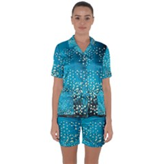 Flower Back Leaf River Blue Star Satin Short Sleeve Pyjamas Set by Mariart