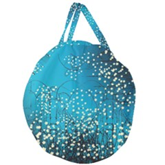 Flower Back Leaf River Blue Star Giant Round Zipper Tote