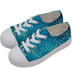 Flower Back Leaf River Blue Star Kids  Low Top Canvas Sneakers by Mariart