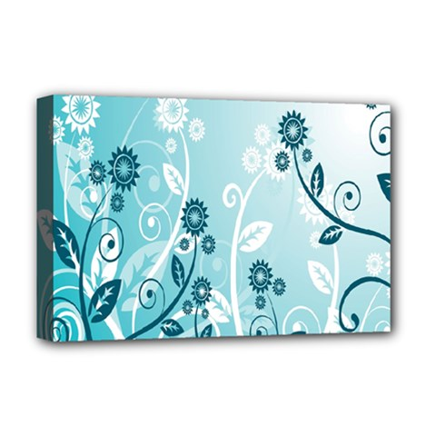 Flower Blue River Star Sunflower Deluxe Canvas 18  X 12   by Mariart
