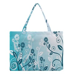 Flower Blue River Star Sunflower Medium Tote Bag by Mariart