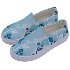 Flower Blue River Star Sunflower Kids  Canvas Slip Ons by Mariart