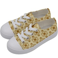 Flower Brown Star Rose Kids  Low Top Canvas Sneakers by Mariart