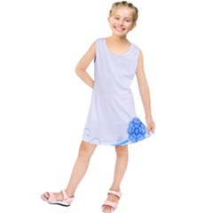 Flower Blue Sunflower Star Sexy Kids  Tunic Dress by Mariart