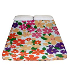Flower Floral Rainbow Rose Fitted Sheet (california King Size) by Mariart