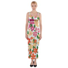 Flower Floral Rainbow Rose Fitted Maxi Dress