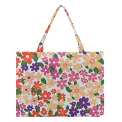 Flower Floral Rainbow Rose Medium Tote Bag by Mariart