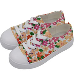 Flower Floral Rainbow Rose Kids  Low Top Canvas Sneakers by Mariart