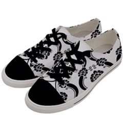 Flower Floral Black Sexy Star Black Men s Low Top Canvas Sneakers by Mariart