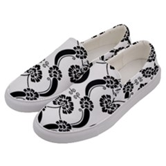 Flower Floral Black Sexy Star Black Men s Canvas Slip Ons by Mariart