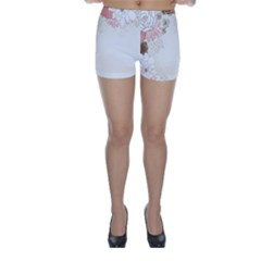 Flower Floral Rose Sunflower Star Sexy Pink Skinny Shorts by Mariart