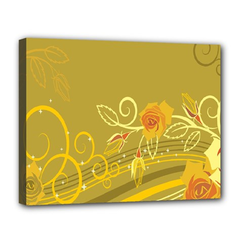 Flower Floral Yellow Sunflower Star Leaf Line Gold Canvas 14  X 11  by Mariart