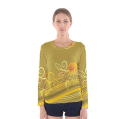 Flower Floral Yellow Sunflower Star Leaf Line Gold Women s Long Sleeve Tee by Mariart