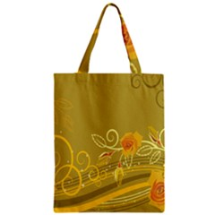 Flower Floral Yellow Sunflower Star Leaf Line Gold Zipper Classic Tote Bag by Mariart