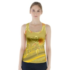Flower Floral Yellow Sunflower Star Leaf Line Gold Racer Back Sports Top