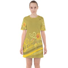 Flower Floral Yellow Sunflower Star Leaf Line Gold Sixties Short Sleeve Mini Dress