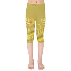 Flower Floral Yellow Sunflower Star Leaf Line Gold Kids  Capri Leggings  by Mariart