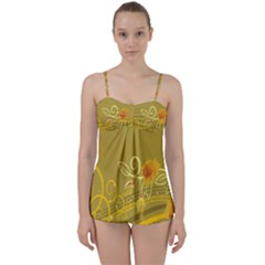 Flower Floral Yellow Sunflower Star Leaf Line Gold Babydoll Tankini Set