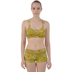 Flower Floral Yellow Sunflower Star Leaf Line Gold Women s Sports Set by Mariart