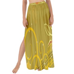 Flower Floral Yellow Sunflower Star Leaf Line Gold Maxi Chiffon Tie Up Sarong by Mariart