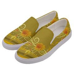 Flower Floral Yellow Sunflower Star Leaf Line Gold Men s Canvas Slip Ons by Mariart