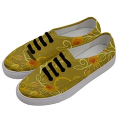Flower Floral Yellow Sunflower Star Leaf Line Gold Men s Classic Low Top Sneakers by Mariart