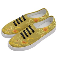 Flower Floral Yellow Sunflower Star Leaf Line Gold Women s Classic Low Top Sneakers by Mariart