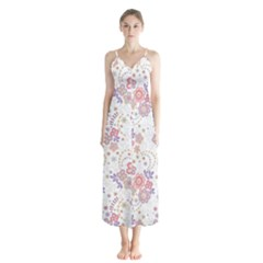Flower Floral Sunflower Rose Purple Red Star Button Up Chiffon Maxi Dress by Mariart