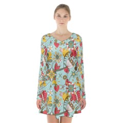 Flower Fruit Star Polka Rainbow Rose Long Sleeve Velvet V Neck Dress