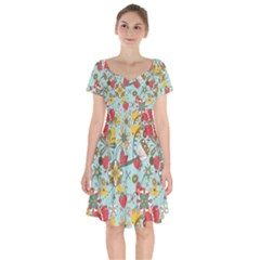 Flower Fruit Star Polka Rainbow Rose Short Sleeve Bardot Dress by Mariart