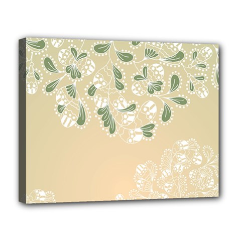 Flower Frame Green Sexy Canvas 14  X 11  by Mariart