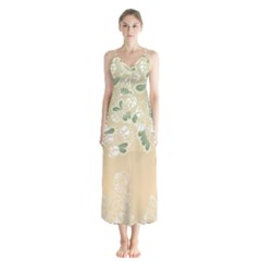 Flower Frame Green Sexy Button Up Chiffon Maxi Dress by Mariart