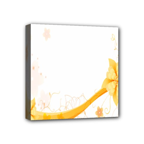 Flower Floral Yellow Sunflower Star Leaf Line Mini Canvas 4  X 4  by Mariart