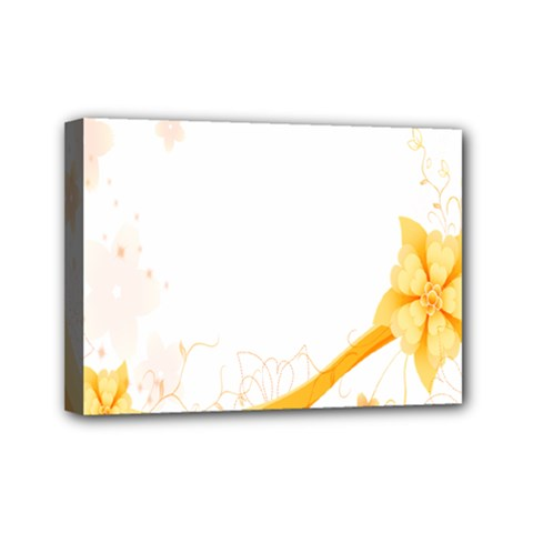 Flower Floral Yellow Sunflower Star Leaf Line Mini Canvas 7  X 5