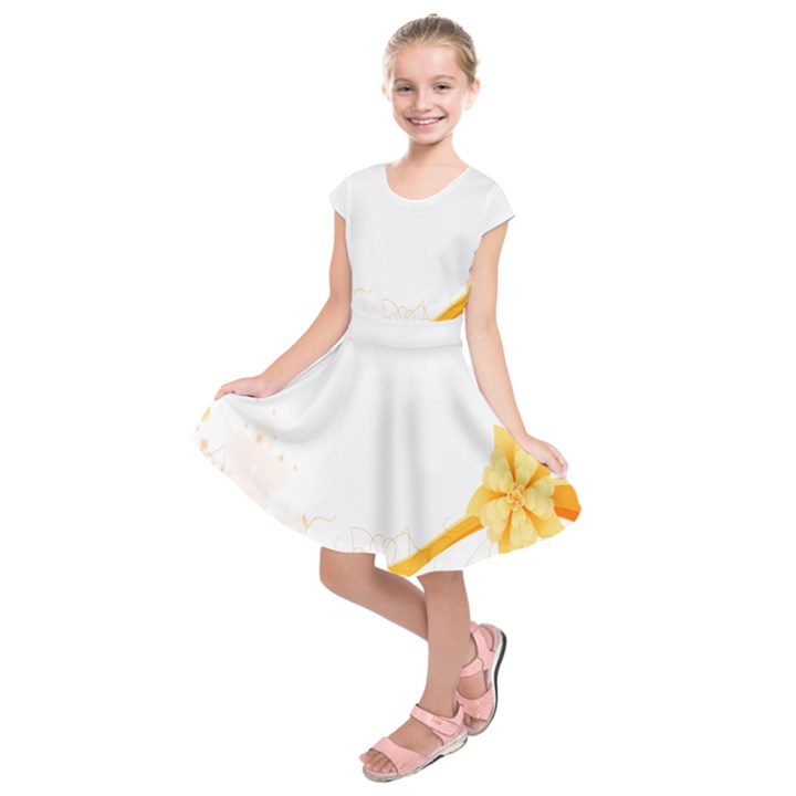 Flower Floral Yellow Sunflower Star Leaf Line Kids  Short Sleeve Dress