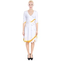 Flower Floral Yellow Sunflower Star Leaf Line Wrap Up Cocktail Dress