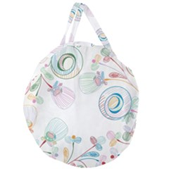 Flower Rainbow Circle Polka Leaf Sexy Giant Round Zipper Tote by Mariart