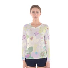 Flower Rainbow Star Floral Sexy Purple Green Yellow White Rose Women s Long Sleeve Tee by Mariart