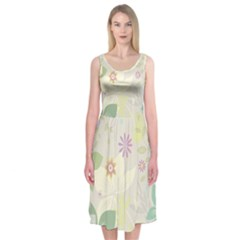 Flower Rainbow Star Floral Sexy Purple Green Yellow White Rose Midi Sleeveless Dress by Mariart