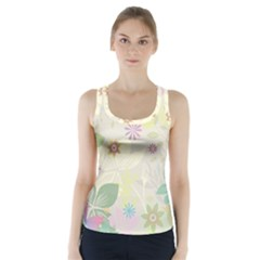Flower Rainbow Star Floral Sexy Purple Green Yellow White Rose Racer Back Sports Top