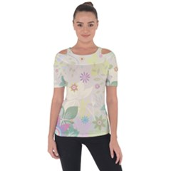 Flower Rainbow Star Floral Sexy Purple Green Yellow White Rose Short Sleeve Top