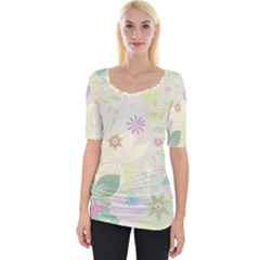 Flower Rainbow Star Floral Sexy Purple Green Yellow White Rose Wide Neckline Tee