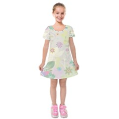 Flower Rainbow Star Floral Sexy Purple Green Yellow White Rose Kids  Short Sleeve Velvet Dress by Mariart