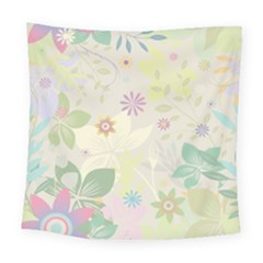 Flower Rainbow Star Floral Sexy Purple Green Yellow White Rose Square Tapestry (large) by Mariart