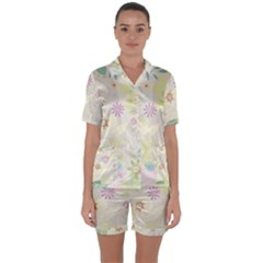 Flower Rainbow Star Floral Sexy Purple Green Yellow White Rose Satin Short Sleeve Pyjamas Set by Mariart