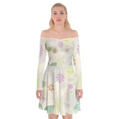Flower Rainbow Star Floral Sexy Purple Green Yellow White Rose Off Shoulder Skater Dress
