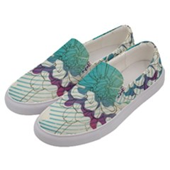 Flower Rose Purple Sunflower Lotus Men s Canvas Slip Ons by Mariart