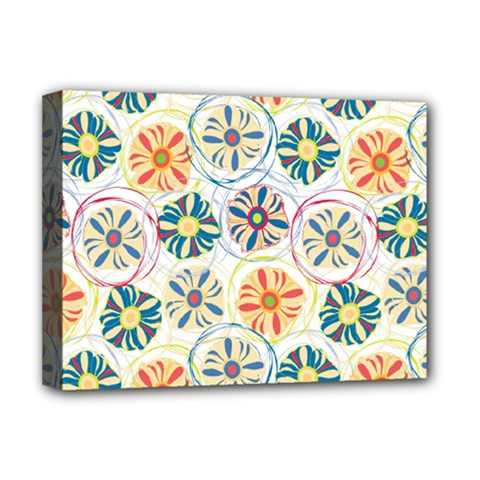 Flower Rainbow Fan Sunflower Circle Sexy Deluxe Canvas 16  X 12   by Mariart