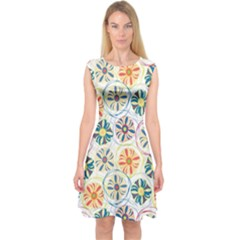 Flower Rainbow Fan Sunflower Circle Sexy Capsleeve Midi Dress by Mariart