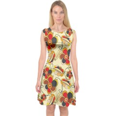 Flower Seed Rainbow Rose Capsleeve Midi Dress by Mariart